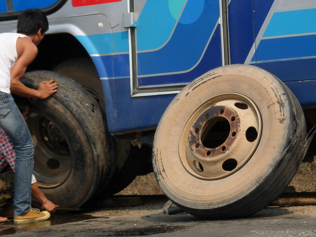 Blown tyre on bus